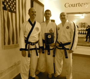 Master Doug Cook, Author Stuart Anslow, and Dr George Vitale at Master Cook's Chosun Taekwondo Academy, a fine example of traditional Taekwondo.